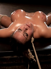 Sexy tan oiled blond, is slowly dragged into the darkness by a neck ropeMade to cum over & over.