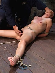 Little Lolita Haize severely bound. Made to cum! Brutal crotch rope pulls her off the floor!