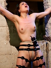 Doll-faced, Porcelain skinned Juliette March submits to Bobbi Starr despite her fear of Electricity